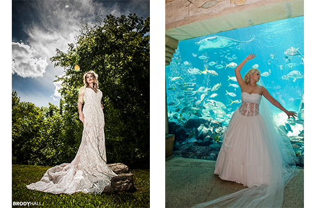 Duel image, brittany in wedding gown on rock, Kylea in wedding gown in The Digs.