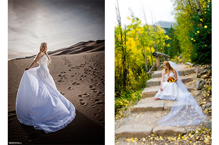 Duel Image, Sky in wedding gown at the great sand dunes, Jessica in wedding gown on glacier trial