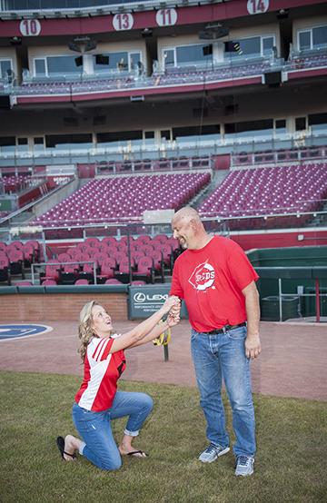 Keli proposing at the ball field